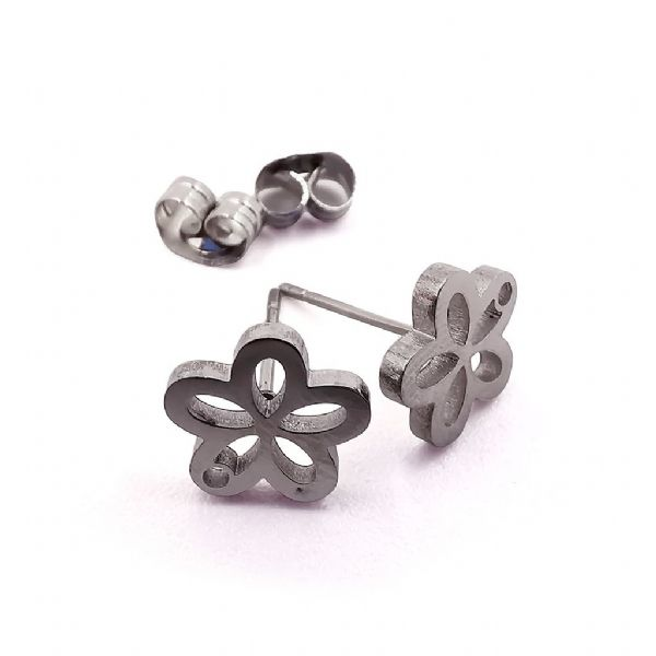 Stainless Steel Stud Earring Flower x 8 pcs
